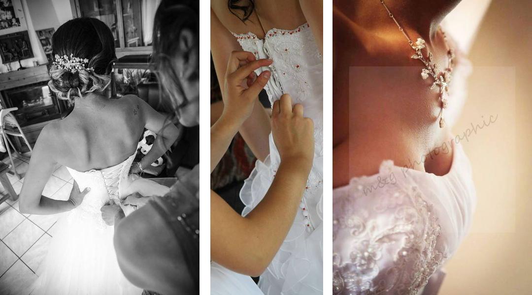 Mariages photographe annecy haute savoie preparatifs mariee noir blanc detail couleur bijuoux robe habillage