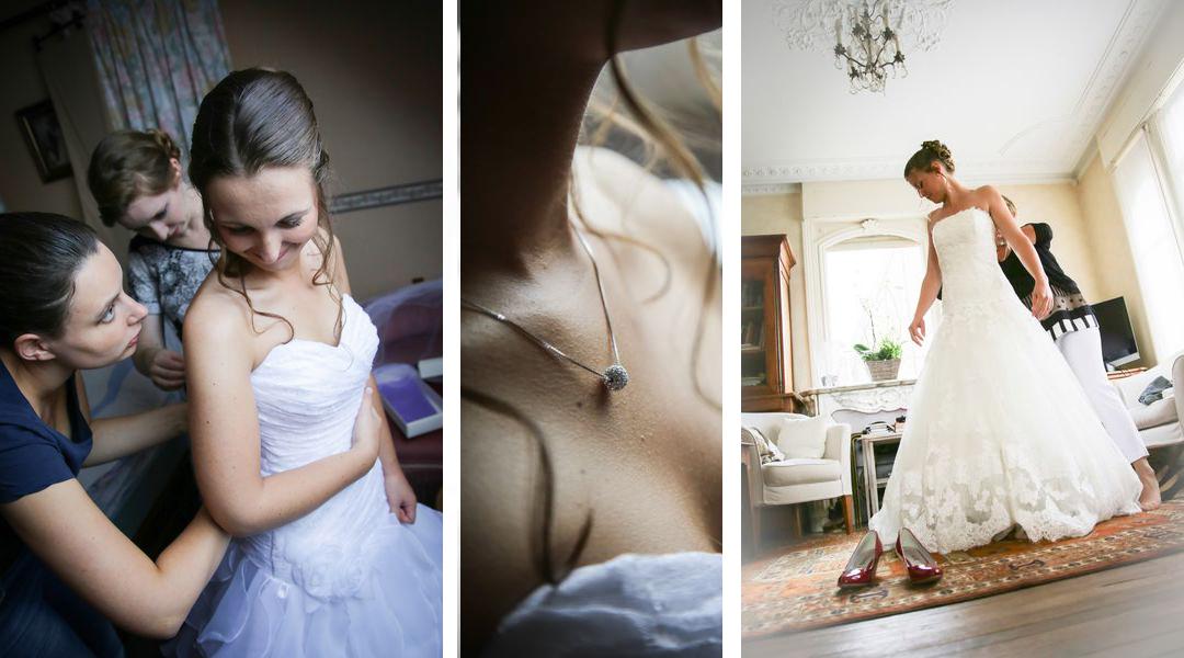 Mariages photographe annecy haute savoie preparatifs mariee noir blanc detail couleur