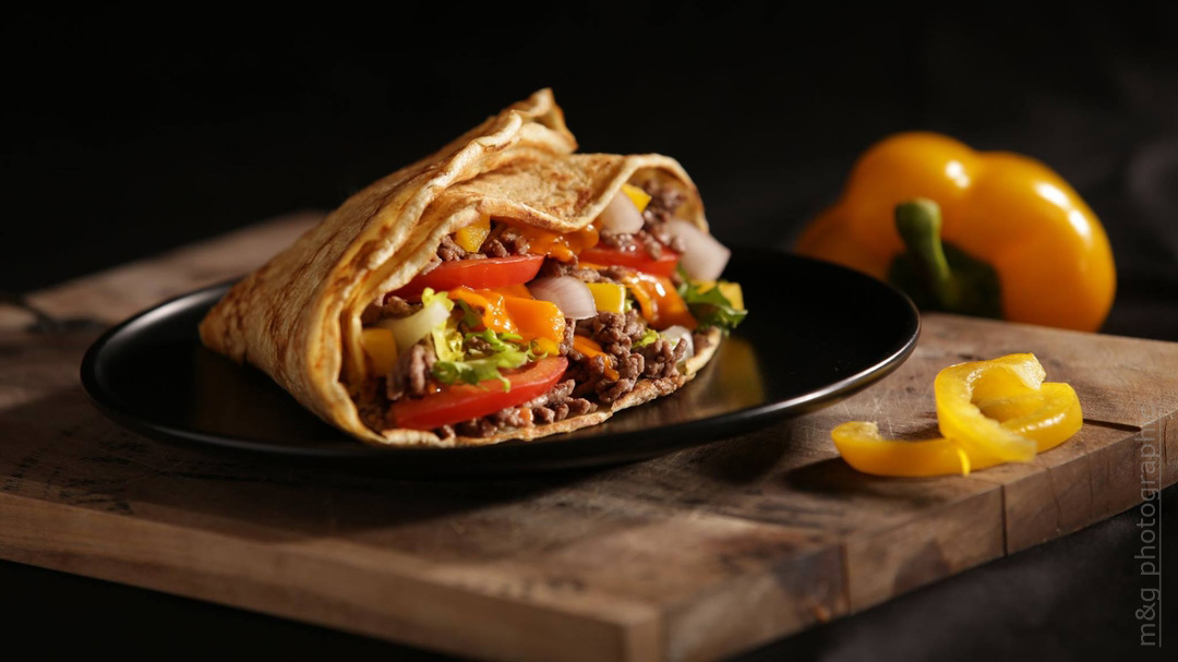 Photo culinaire alimentaire photographe annecy geneve wrap tacos poulet cuisine cheddar